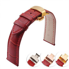 Perfect Red Genuine cowhide Leather 12 14 16 18 20 22 mm watche band strap Belt Watchband Folding Clasp / Buckle + Tool