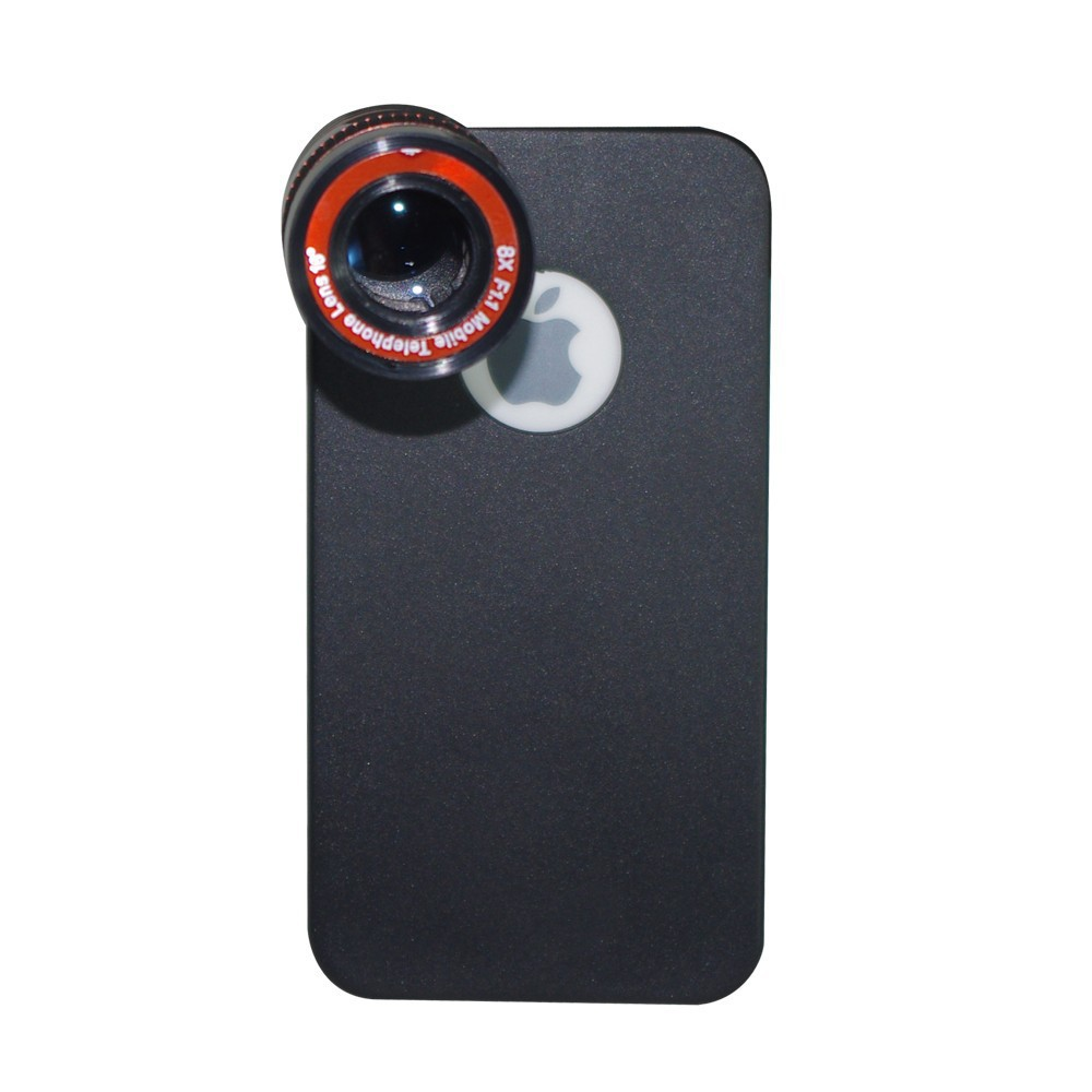 For iphone 4 4s lens kit and wallet , wide angle fisheye 2x telephone lens 8x zoom lens tripod and case 2cl-24 (6)