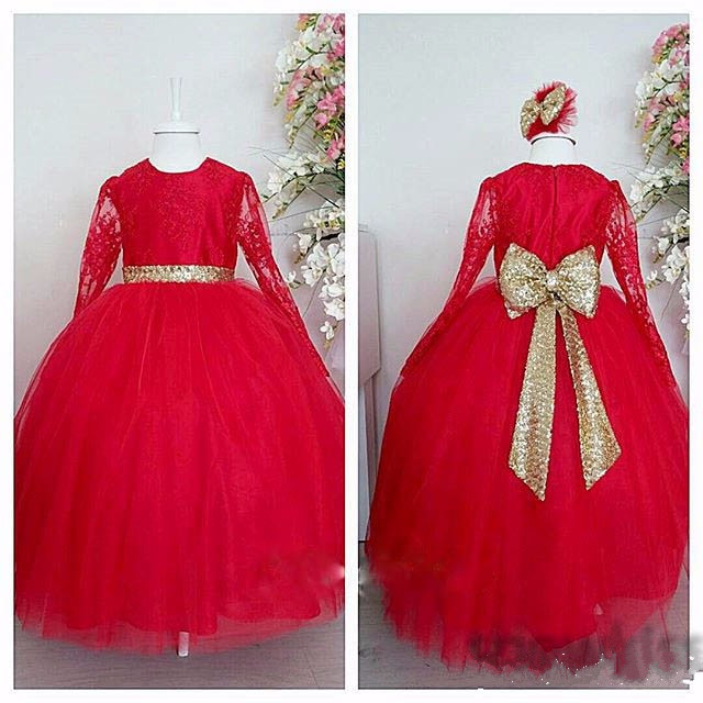 Gorgeous Red Lace Flower Girl Dress With Gold Sequined Bow Sash for Wedding Long Sleeves Zipper Back Kids Formal Wears Vestidos