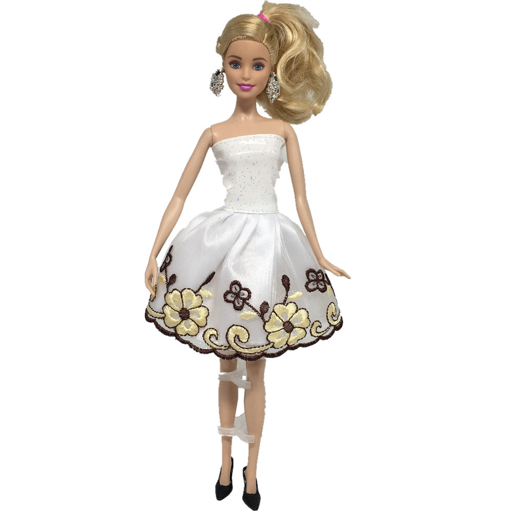 все цены на NK One Set Newest Doll Dress Beautiful Party Concise style Clothes Top Fashion Dress For Barbie Noble Doll Best Girls' Gift 064A