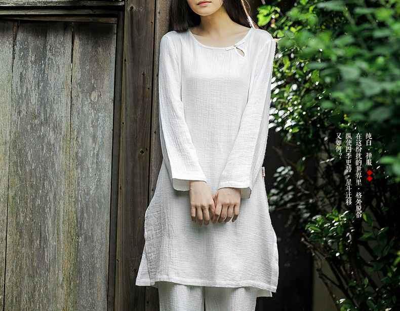 Czystej bawełny kobiety wiosna i lato yoga hotelu zen Lay medytacja odzież tai chi mundury białe