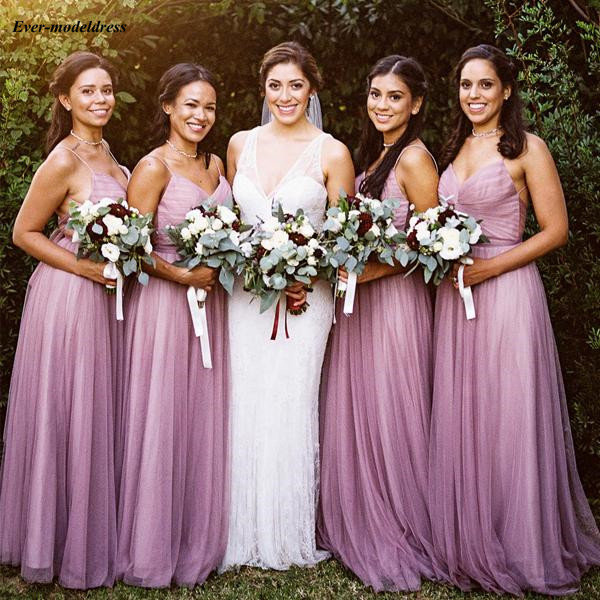 Light Purple Country   Bridesmaid     Dresses   Spaghetti Pleats Convertible Tie Back Long Maid of Honor   Dress   Wedding Guest Party Gowns