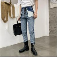 M XXL Unique design Spring new personality tide slim Reverse wear jeans Korean men's feet pants hairstylist nine points pants