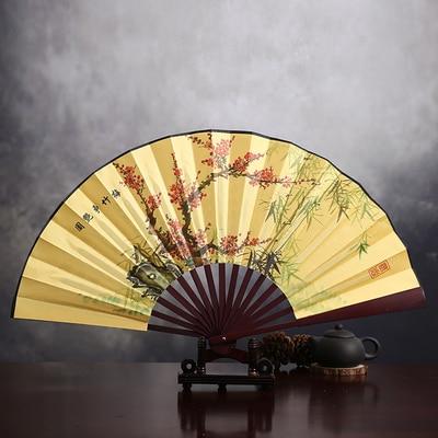"""1"""" украшенный Шелковый складной Ручной Веер человек большой бамбуковый китайский Печатный веер из ткани традиционное ремесло свадебные сувениры веер - Цвет: Plum blossom"""