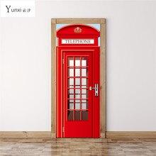 Фотография YunXi 2017 New 3D Door Paste European Phone Pavilion Door Sticker Living Room Bedroom Background Decoration Pvc Wall Stickers