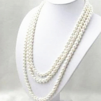 Free shipping long chain necklace natural white freshwater cultured 6 7mm pearl round beads fashion jewelry 80inch MY4524