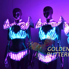 LED Bra Lady Clothing 2015 New Fashion Glowing Clothes Women Bra Shorts Alice shoulder Armor Suits Ballroom Dance Dress