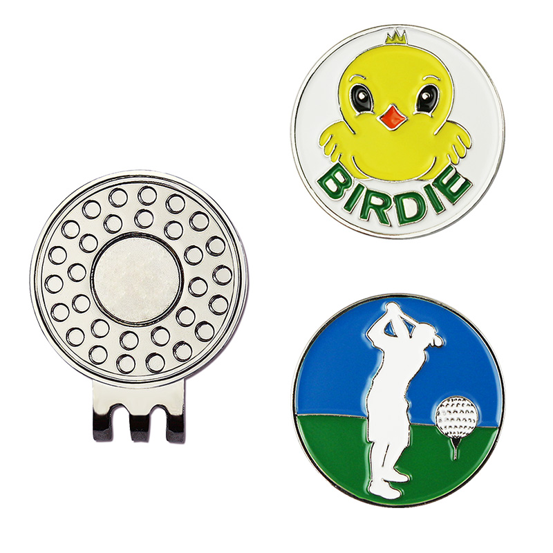 PINMEI Birdie Golf Ball Mark Hat Clip Sets 1pc Golf Cap Clip And 2pcs Golf Markers Sets Golf Accessories Gifts For Friend Golfer