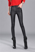 Autumn Winter women leather pants High Waisted elastic shiny trousers slim female pencil leather pants women pantalon femme
