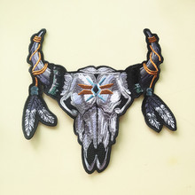 23x21cm Exquisite Large Ox Head Embroidered PatchClothes Stickers Clothing Coat Jacket Back Decoration Patches