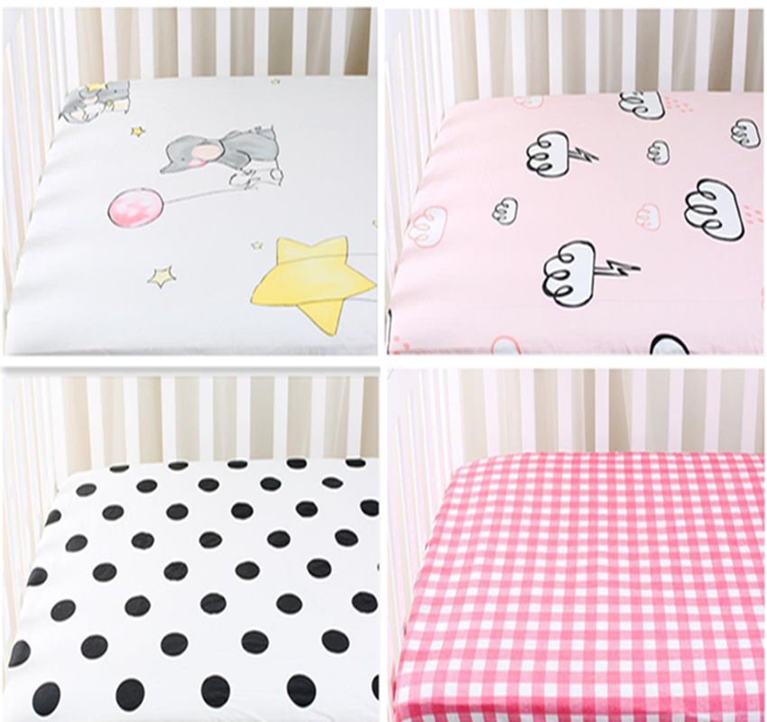 Special Price Baby Bed Sheet Cotton Cartoon Baby Bed Mattress Cover Baby Bed Linens Newborn Crib Fitted Sheet Infant Bedding image