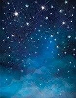 5x7ft Christmas Photography Backdrop Night Blue Stars Photography Backdrop Backdrop D 6549