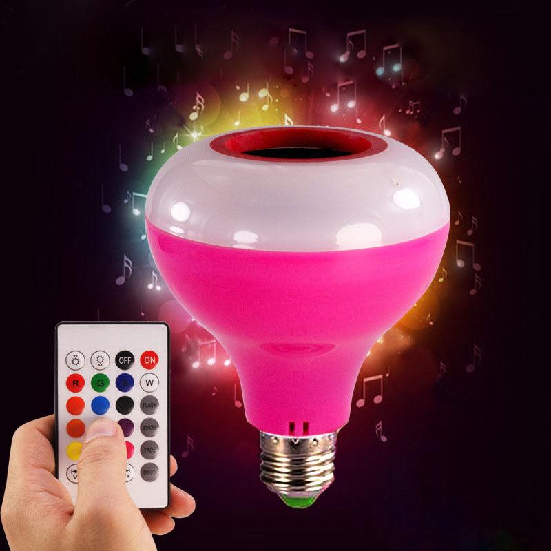 Smart RGB Wireless Bluetooth Speaker Bulb Music Playing Dimmabl E27 LED RGB Music Bulb Light Lamp with 24 Keys Remote Control