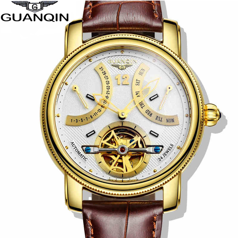 Top Luxury Brand GUANQIN 2016 New Fashion Casual Genuine Leather Strap Clock Multifunctional Men Gold Quartz