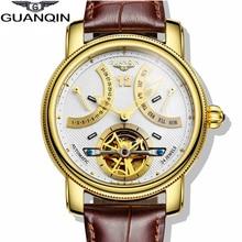Top Marca de Lujo GUANQIN 2016 Nueva Manera y Ocasional de Cuero Genuino Correa de Reloj Multifuncional Hombres de Oro de Cuarzo Relojes de Pulsera