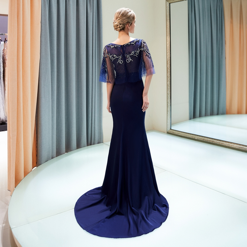 Navy Blue Prom Gown Mermaid Popular Sweep Train Capped Beading Top Sequined Wine Red Zipper Elastic Satin Special Occasion Dress