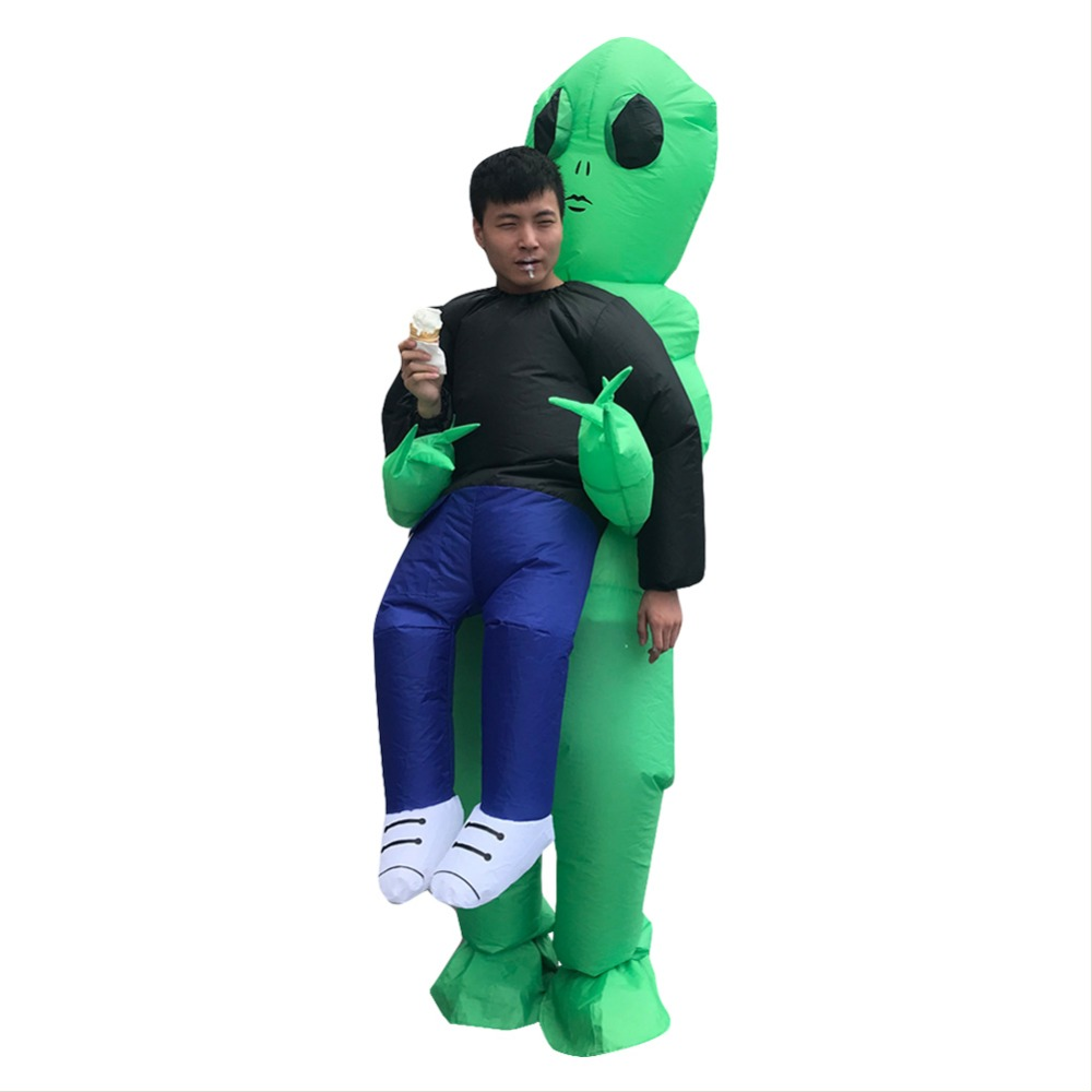 Inflatable Monster Costume Scary Green Inflatable Alien Costume For Adult Halloween Party Festival Stage Performance Cloth