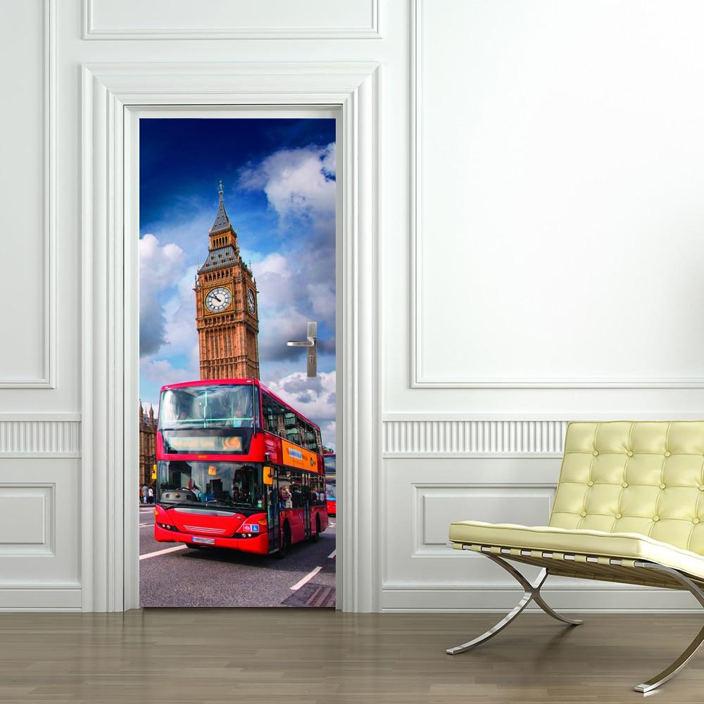 Free Shipping 3d Uk Big Ben With Red Bus Door Wall Stickers Bedroom