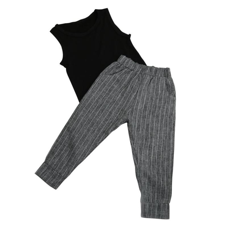girl set pants summer 2PCS Baby Kids Girl Sleeveless Vest Tops T-shirt+Harem Pants Outfits Clothes Set ropa de nina size 3-7year 3
