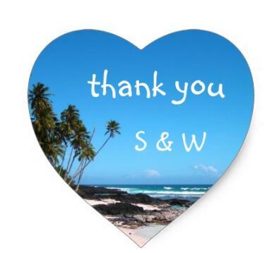 1.5inch Tropical Island Thank You Wedding Sticker
