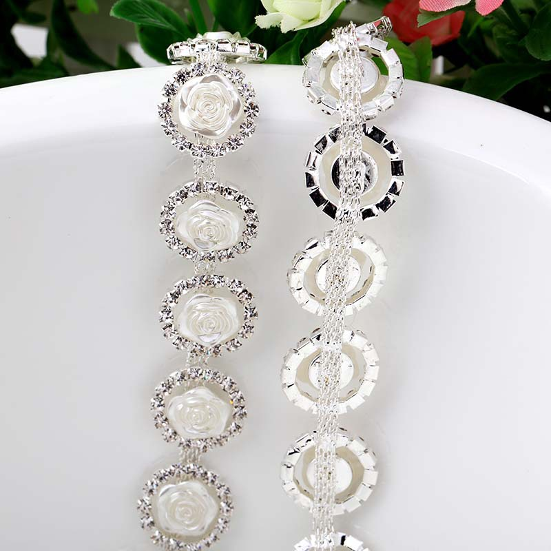 Super shining! White Rose Fancy glass crystal sew-on Rhinestone chain apply to DIY Watch ...