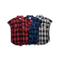 الشارع الشهير المتضخم الخصر سستة متقلب قميص رجالي المد متعدد الألوان فضفاضة صدرية منقوشة أكمام قمصان