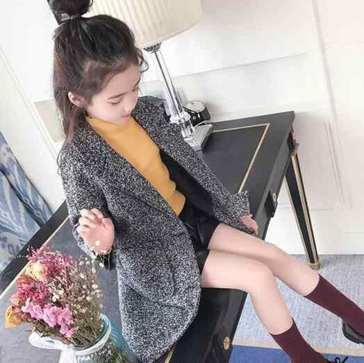 2018 Fall Winter Girls Leisure Woollen Jacket Children's Woolen Clothes Overcoat Little Kids Trendy Coat Outerwear DF121
