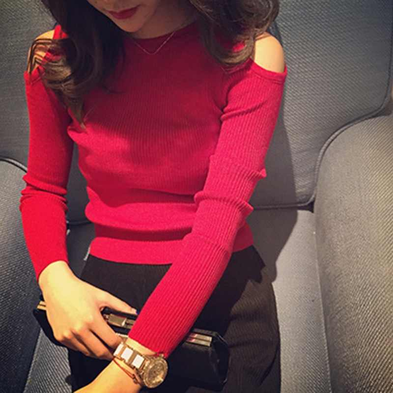 Ropalia 한국어 패션 솔리드 femme 캐주얼 긴 소매 풀오버 탑 여성 의류 o-넥 섹시한 오프 어깨 스웨터 pullovers