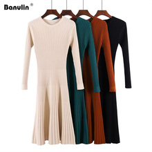 Banulin 2019 Women O-neck A-Line Knitting Sweater Dress Winter Thicken Knit Korean Fashion Retro Vintage Midi Long