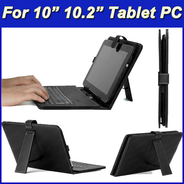 Black USB Keyboard PU Leather Case Stand Cover For 10 inch 10.1 10.2 Tablet PC Case