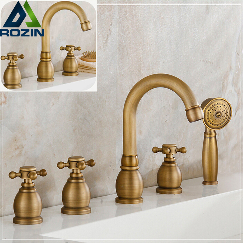 Widespread 3-5pc Bathtub Faucet Deck Mounted with Handheld Shower Antique Brass Roman Tub Filler sognare new wall mounted bathroom bath shower faucet with handheld shower head chrome finish shower faucet set mixer tap d5205