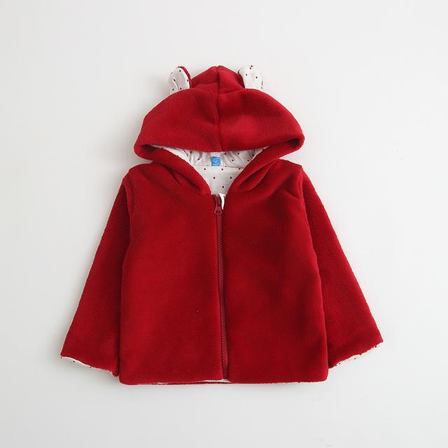 Nuevo 2016 del otoño del resorte de los niños bebé ropa de niños y niñas coral polar chaqueta de punto con capucha para niños prendas de vestir exteriores