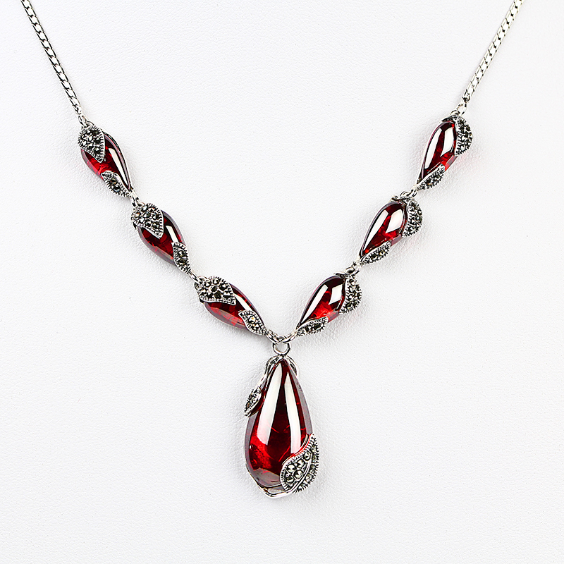 JIASHUNTAI Royal pierres précieuses grenat 100% 925 en argent Sterling collier pendentif chaîne femmes bijoux de mariage cadeau d'anniversaire