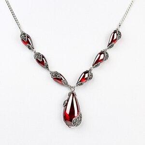 Image 1 - JIASHUNTAI kraliyet taş Garnet 100% 925 ayar gümüş kolye kolye zinciri kadınlar takı düğün doğum günü hediyesi