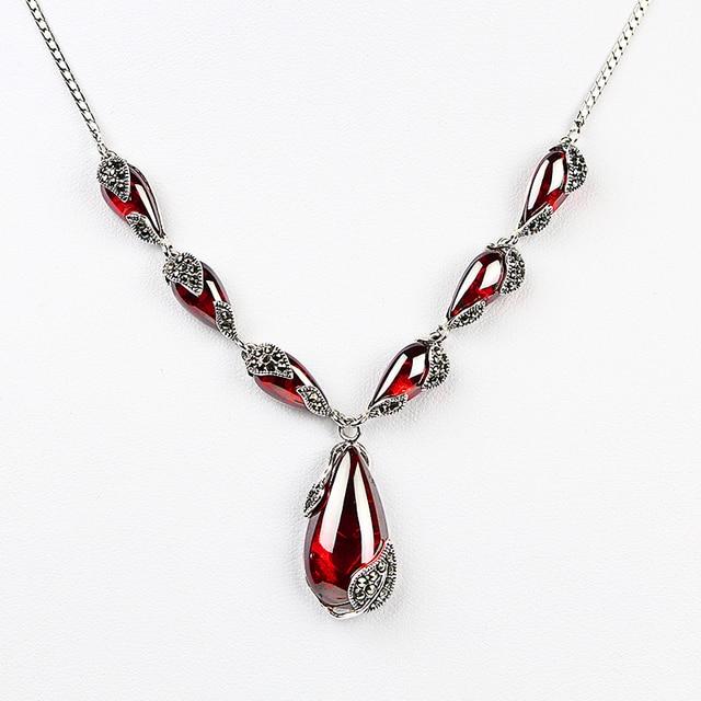 JIASHUNTAI kraliyet taş Garnet 100% 925 ayar gümüş kolye kolye zinciri kadınlar takı düğün doğum günü hediyesi