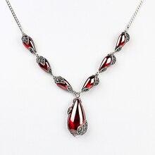 Jiashuntai real pedra preciosa granada 100% 925 prata esterlina colar pingente corrente feminino jóias presente de aniversário casamento