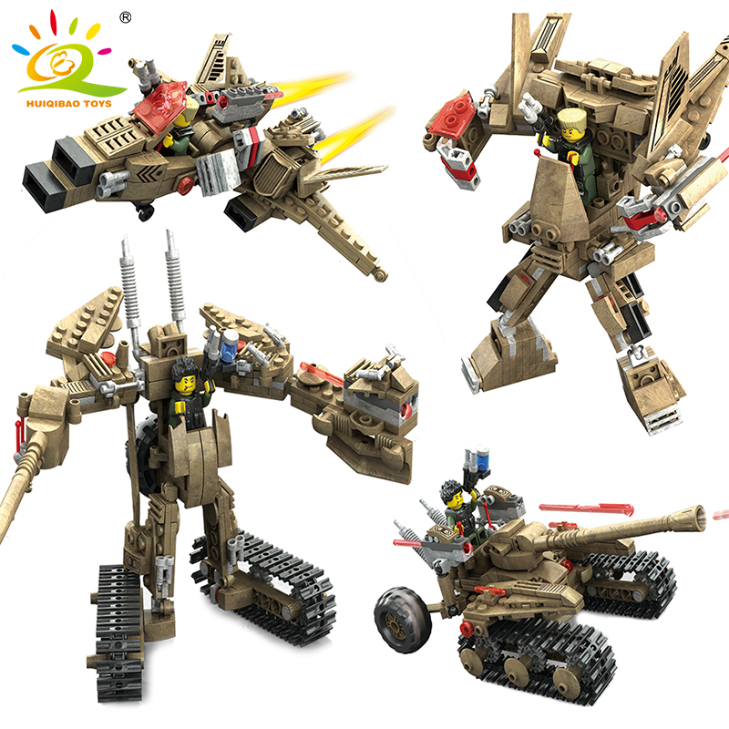 HUIQIBAO TOYS 2in1 Military Helicopter Cars Model Transformation Robot Compatible Legoed Action Figures Weapons Building Blocks 2014 new high quality building blocks minifigures 4 in 1 combiner various models transformation robots cars action figure