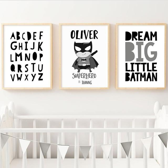 Frameless canvas painting nordic home decorative painting cartoon super hero black and white letters posters and