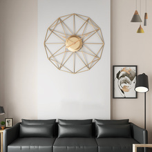 New Creative Retro Circular Wall Clock Household Five-Pointed Star Pattern Iron Hanging Clocks Roman Numerals - Gold