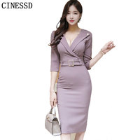 CINESSD Sexy OL Work Party Dresses 2019 Women Autumn Solid V neck Professional Hip Waist Bodycon Party Dresses Vestidos