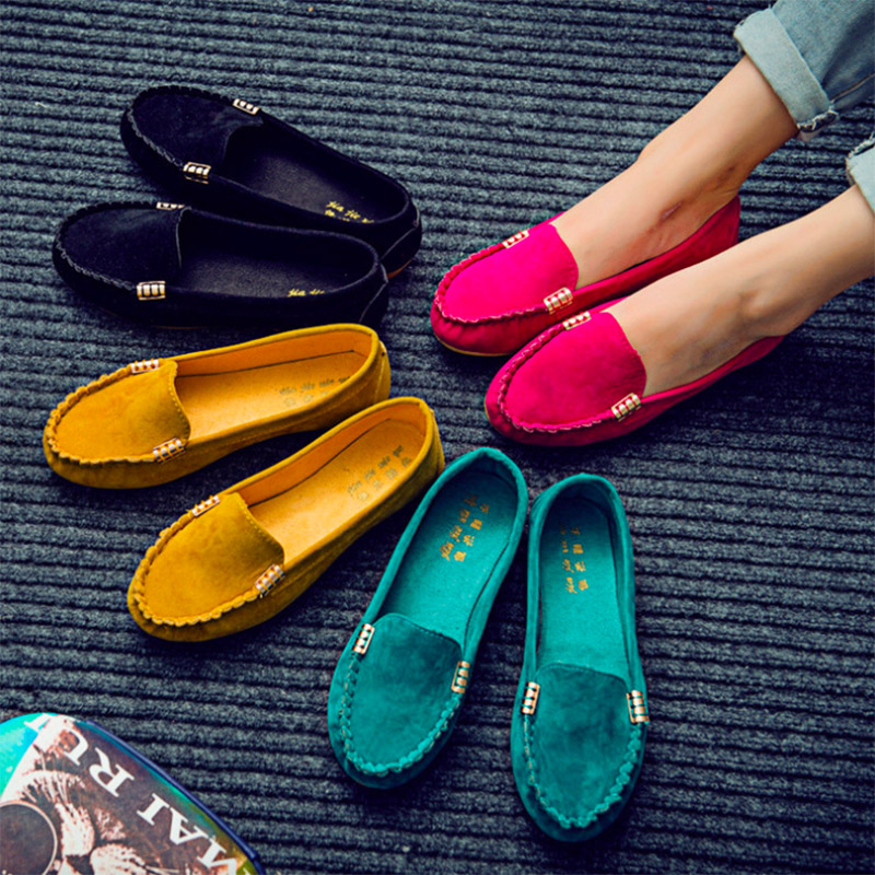 2018 Hot Sale Pu Creepers New Women's Flats Shoes Fashion Casual Loafers Solid Candy Colors Ladies Cute Slip-on Low Heel Boat 2017 summer new fashion sexy lace ladies flats shoes womens pointed toe shallow flats shoes black slip on casual loafers t033109