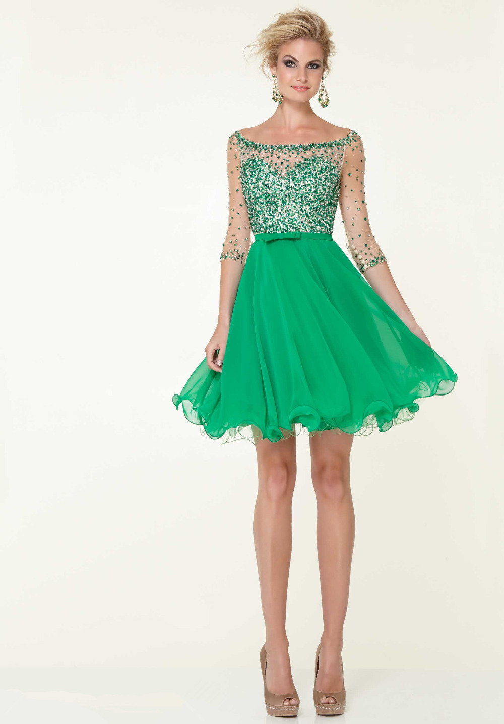 Green Sequin 8th Grade Graduation Dresses 2015 Short Home ...