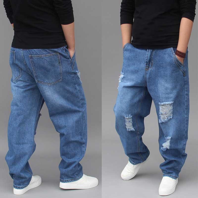 Fashion Harem Denim Pants Men Casual Hip Hop Ripped Jeans Distressed Low Crotch Hole Loose Baggy Cotton Trousers Male Clothes