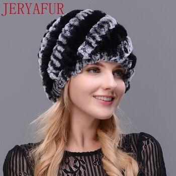 JERYAFUR Man woman real fur hat horn rabbit fur handmade fur one knit hat female winter ski hat cap cap free shipping