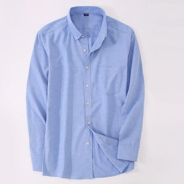eede6713259bc5 Primavera Solido Uomo Camicie Casual Manica Lunga Oxford Maschile Camicia  di Colore Bianco Business Formale Maschile