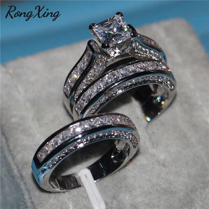 RongXing Princess Cut White Zircon Engagement Ring Set Female 925 Silver/Yellow Gold Filled CZ Stone Rings for Women Men Wedding