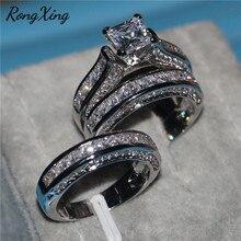 RongXing princesa corte blanco circón anillo de compromiso 925 mujeres de plata/oro amarillo lleno CZ anillos de piedra para las mujeres boda de los hombres