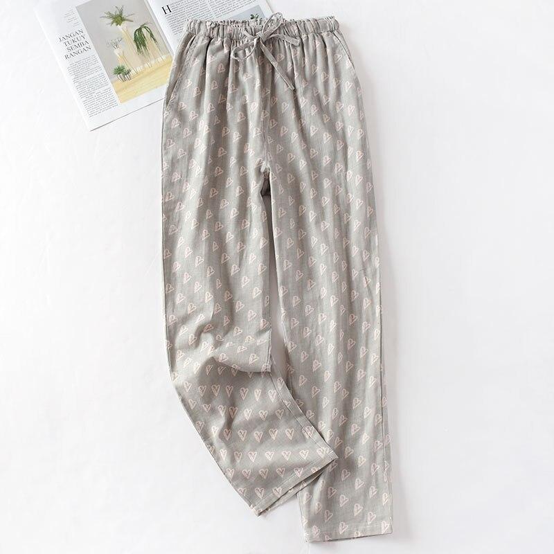 Весенние и летние домашние штаны для пары, женские хлопковые двойные газовые Тонкие штаны для сна, повседневные пижамы с принтом - Цвет: gray