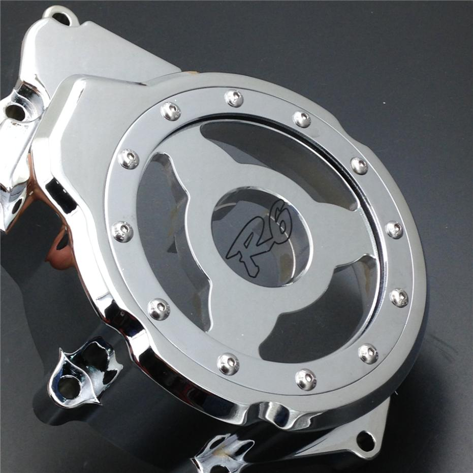 For Motorcycle Yamaha YZF-R6 2006-2013 CHROME left side Billet Engine Stator cover see through aftermarket free shipping motorcycle parts billet engine stator cover for honda cbr1000rr 2008 2013 chrome left side