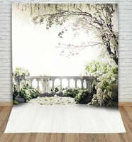 Willow Tree Spring Flower Garden Coastal Photo Backdrop Vinyl Cloth Computer Printed Wedding Photography Studio Background